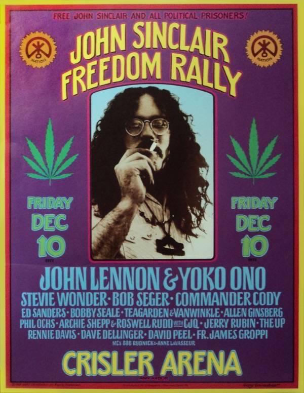 Cartaz do John Sinclair Freedom Rally, festival em defesa da liberdade do líder do White Panther Party, condenado a dez anos de prisão pelo porte de dois cigarros de maconha. Dois dias após o evento, Sinclair foi solto em liberdade condicional. Foto: Divulgação